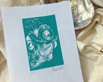 Original Fine Art Linoleum Cut Print - Vintage Diver - in Sea Green