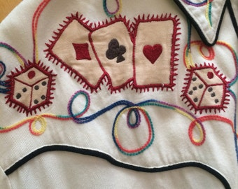 Vintage Western Shirt with cards and dice designs and smile pockets 80s era Cream Soda