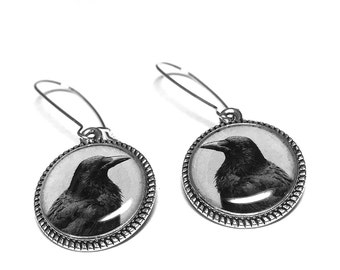 Black Raven Earrings, Edgar Allan Poe, Book Jewelry, Dangle Earrings, Handmade Jewelry, Resin Jewelry, Halloween, Goth Jewelry, Black Crow