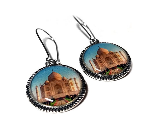 Taj Mahal Earrings, Historical Jewelry, Dangle Earrings, Indian Love Story, Handmade, India, Resin Jewelry, Monument Jewelry, Historical