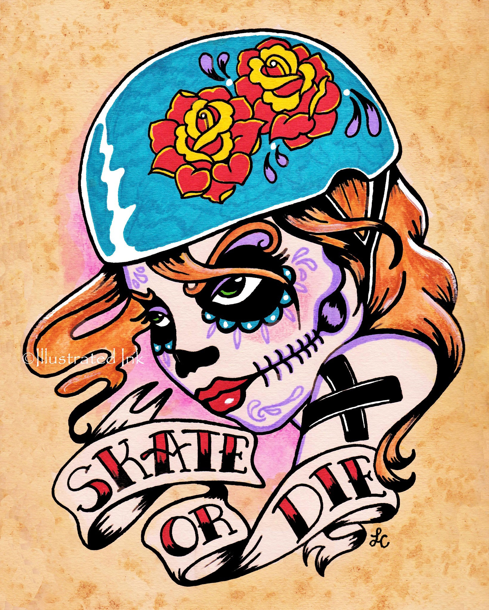 roller derby art day of the dead art roller girl tattoo. Black Bedroom Furniture Sets. Home Design Ideas