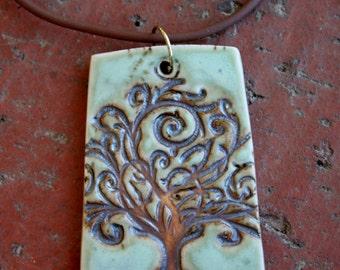 Tree of Life on Mint Green Porcelain Pendant