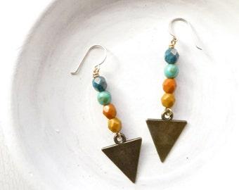Boho Earrings // Geometric Jewelry // Triangle Earrings // Beaded Dangle Earrings // Tribal Jewerly // Gift Ideas For Women // Handmade