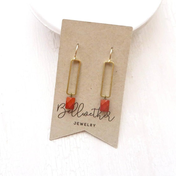 Rectangle Earrings > Red Jasper