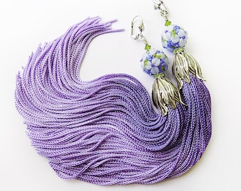 Tassel Earrings, Lampwork Earrings, Periwinkle Blue, Purple Tassels, Long Earrings, Floral Earrings, Boho Earrings, American Gods, tassle