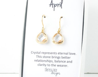 Tiny April Birthstone Gold Earrings, Clear Gold Dangle Earrings, April Birthday Jewelry, Bridesmaid Jewelry, Dainty Gold Earrings