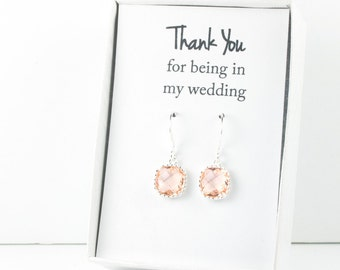 Peach Silver Earrings, Blush Square Silver Earrings, Champagne Silver Earrings, Bridesmaid Earrings, Bridesmaid Gift, Wedding Jewelry