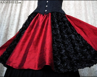 Running Away with the Circus Skirt - Red Silk and Black Satin Roses by Kambriel - Brand New & Ready to Ship!