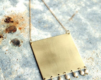 Long Statement Necklace with Bead Fringe, Square Pendant, Gold colored Brass Geometric Necklace