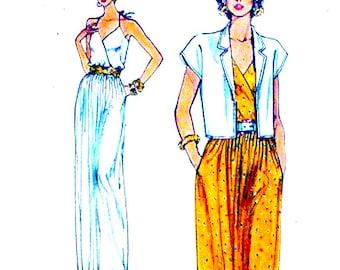 Halter evening wear Summer dress jacket Mother of the bride Wedding vintage sewing pattern Vogue 8329 Bust 36 UNCUT
