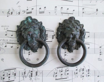 Pair of Little Vintage Lion Drawer Pulls
