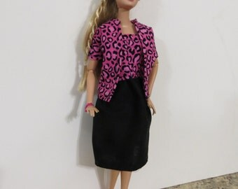 Barbie Outfit, Dress and jacket, Barbie Clothes, Handmade Barbie Clothes, Black and bright pink