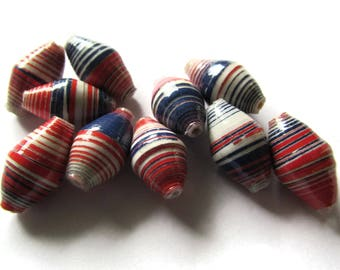 10 14mm Red White and Blue Striped Ugandan Paper Beads Fair Trade Beads African Paper Beads Sealed Paper Beads Upcycled Bead Jewelry Making