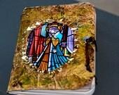 handmade Prayer journal, stained glass saint, handmade journal, pocket journal, mini book, mixed media journal, Gratitude , Bible study