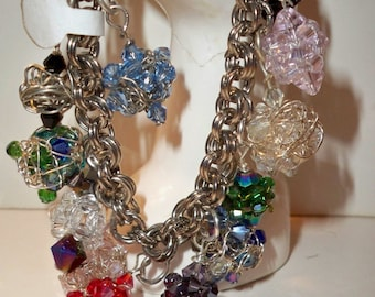 Beaded Beads Bracelet, Crystal Beaded Beads Bracelet, Multi Color Crystal Bracelet, Handmade Crystal Beaded Bead Dangles on Silver Chain