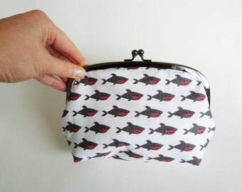 Cosmetic bag, sharks, grey and white cotton novelty shark fabric, cotton pouch