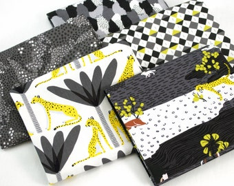 In the Sahara Fat Quarter Bundle in grey - by Katy Tanis for Blend Fabrics - 5 piece fat quarter bundle