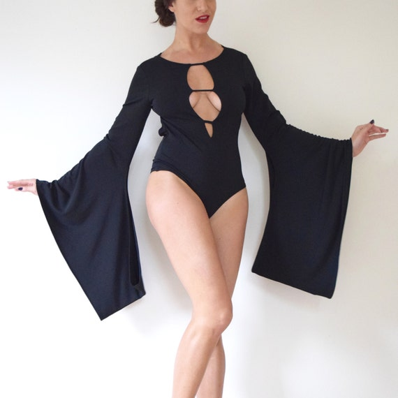 Vintage 90s Inky Black Jersey Kimono Sleeve Backless Leotard