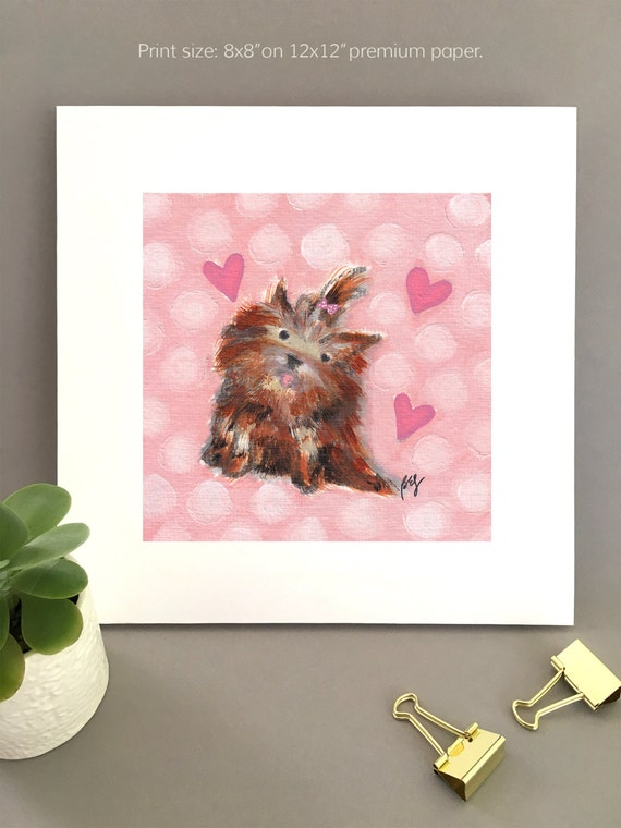 Yorkshire Terrier giclee print, art for wife, girlfriend, dog lover gift idea Anniversary gift, cute valentine decor, gift for her for her