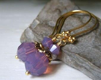 Cyclamen Opal Earrings, Gold Vermeil Earrings, Lavender Crystal Earrings, Round Lavender Swarovski Earrings, Lavender Opal Dangle