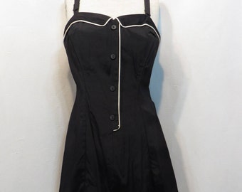 Vintage Swimsuit 1950s 50s  Playsuit VOLUP Rockabilly VLV Romper MCM Kerrybrooke Black B38
