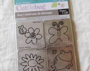Cuttlebug GARDEN CREATURES - set 4 metal dies - DeSTaSH - NeW - frog, flowers, butterfly, bee, die cuts, card making, scrapbooking supplies