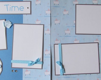 12x12 Premade Scrapbook Pages -- baby boy layout -- BATH TIME - Perfect layout for baby's first bath or for any favorite bath time memories!