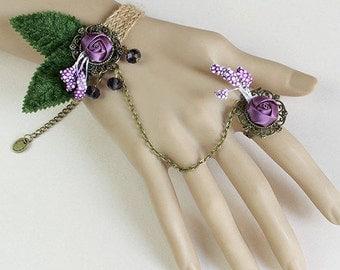 Vintage PURPLE Ribbon Rose Wrist Strap Bracelet w/Rose Ring Ln541, Flower, Jute, Altered Art, Steampunk, Gothic, Slave, Futuristic, Mideivil