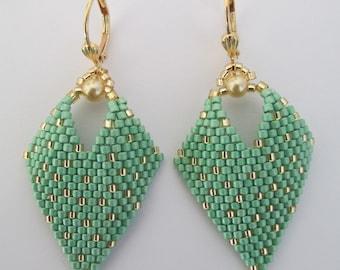 Beaded Leaf Earrings - Mint Green