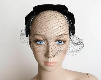 Vintage 1960s Veil Headband - Black Velvet Bow Angular Hat with Front Netted Veil