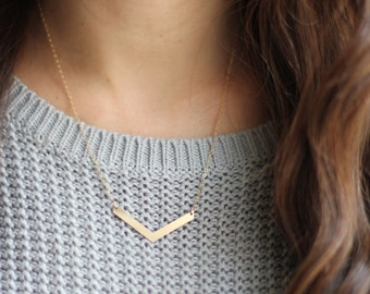 Minimalist Chevron Arrow Necklace - Brass | Silver | 14k Gold Filled | Sterling Silver