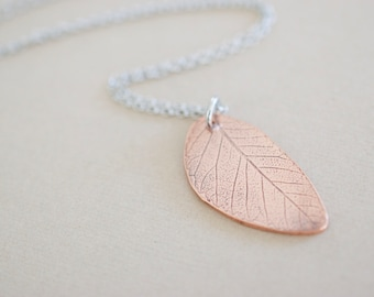 Copper Leaf Necklace - Leaf Pendant - Leaf Imprint - Custom Nature Inspired Necklace