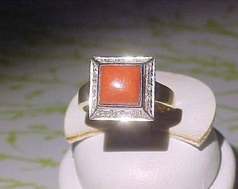 European 18k 750 Coral Ring with Diamonds Square Shaped