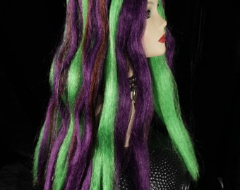 purple green hair falls synthetic stright extensions goth club costume anime tribal belly dance - Ready to Ship - Sisters of the Moon