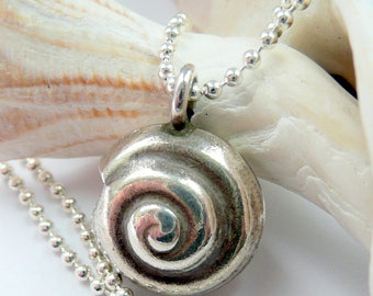 Handcrafted Artisan Fine Silver Spiral Seashell Sterling Silver Ball Chain Boho Hippie Beach Summer Festival Minimalist OOAK Charm Necklace