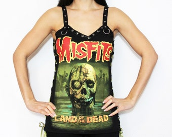 Misfits shirt heavy metal tank lace up top gothic clothing alternative apparel reconstructed rocker clothes altered band tee t-shirt