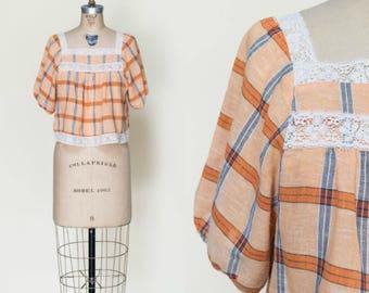 1960s Crop Top --- Vintage Orange Plaid Blouse