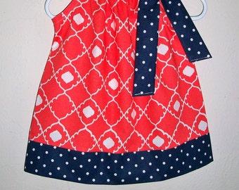 Pillowcase Dress, Girls Dresses, Quatrefoil Dress, Coral and Navy Dress, Coral Dress, baby girl dresses, toddler dresses, Kids Clothes