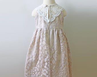 Flower Girl, Blush Lace Dress, Lace Collar
