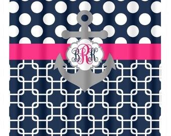 ANCHOR SHOWER CURTAIN Navy Blue Hot Pink Polka Dot Chain Custom Monogram  Personalized Nautical Bathroom Decor