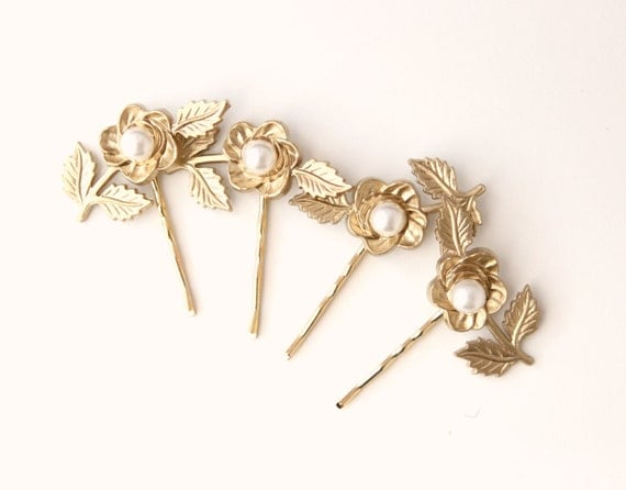 Gold rose bobby pins, Flower hair clips, Vintage gold and pearl flower pin set, Bridal accessory bobbies - set of four