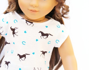 Fits like American Girl Doll Clothes - Galloping Horses Tee and Blue Jeggings, Made To Order