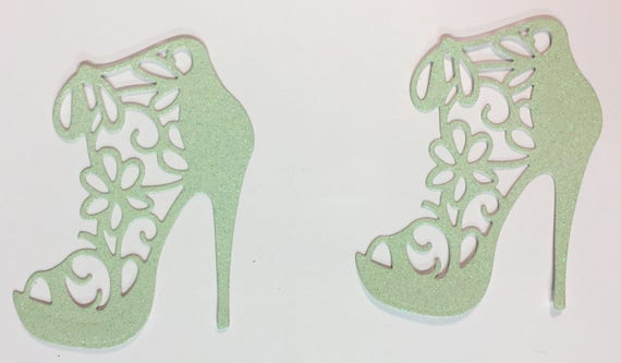 High Heel Shoe Glitter Die Cut Flower Lace Light Mint Green Elegant Feminine Embellishment Scrapbook Greeting Card Art Craft Mixed Media