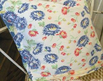 Pillow sham Vintage Retro toweling Farmhouse Summer Porch red white blue yellow Mums RDT ECS FVGteam