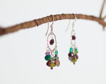 Chandelier Earrings Boho Gypsy Dangle Earrings Sterling Silver Earring Semiprecious Valentine Gift for Bride Gift for Her Gift for Wife