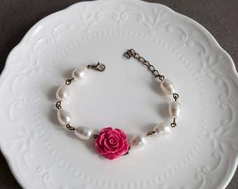 Dark Pink Bracelet. Tear Drop Glass Pearls Beaded Bracelet. Bridesmaid Wedding Jewellery. Romantic Rose Flower Bracelet. Adjustable Bracelet