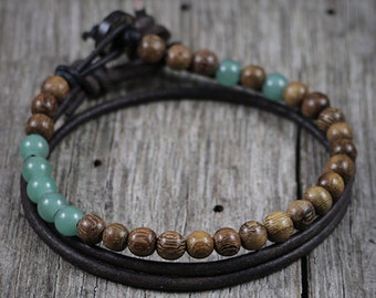 Mens Beaded Bracelet, Mens Leather Bracelet, Mala Bracelet, Brown Wood Beads, Green Aventurine Gemstone, Prayer, Friendship, Family, Goals