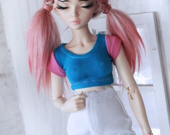 BJD Doll clothes MSD Doll clothes One of a Kind Turquoise and Pink short sleeve Crop Top for Minfee MonstroDesigns Ready to Ship