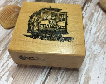 Vintage Rubber Stamp, SF, San Francisco , Cable Car, Rubber Stamp, Beach, Sea theme ,Craft Stamp