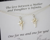 Mother and Daughter Infinity Cross Necklace Gift Set, 2 cross necklace set, Set of two, Sterling Silver and Gold, Sisters Gift